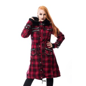 POIZEN INDUSTRIES - DARE COAT LADIES RED CHECK SIZE S CLEARANCE