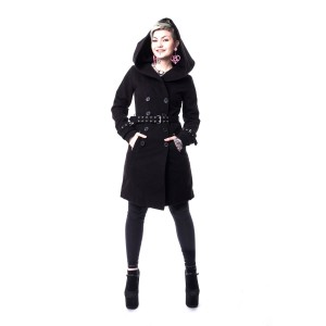 VIXXSIN - DECAY COAT LADIES BLACK SIZE XL CLEARANCE
