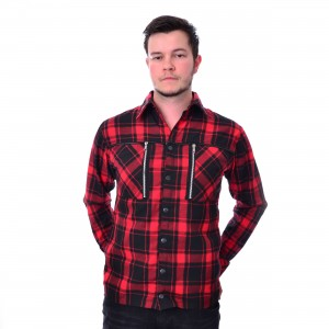 CHEMICAL BLACK - EZRA SHIRT MENS RED CHECK |c|