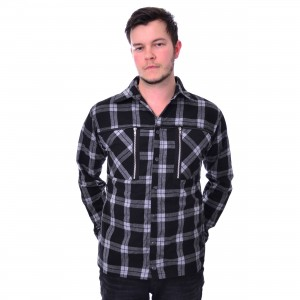 CHEMICAL BLACK - EZRA SHIRT MENS WHITE CHECK |c|