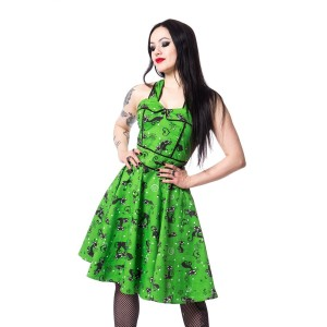ROCKABELLA - FELINE SWING DRESS LADIES GREEN