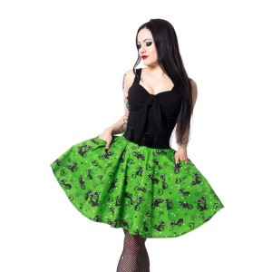 ROCKABELLA - FELINE SWING SKIRT LADIES GREEN