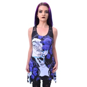 VIXXSIN - FLOWER GIRL LACE PANEL VEST LADIES BLACK