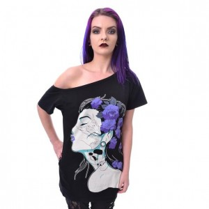 VIXXSIN - FLOWER GIRL TOP LADIES BLACK