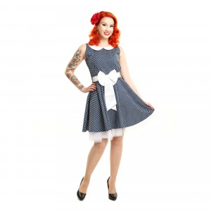 ROCKABELLA - FELICIA DRESS LADIES POLKA BLUE WHITE