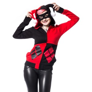 BATMAN - HARLEY MASK HOOD LADIES BLACK/RED (HARLEY QUINN) *NEW*