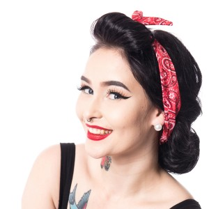 ROCKABELLA - HB01 HEADBAND LADIES RED FLOWER