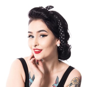 ROCKABELLA - HB03 HEADBAND LADIES POLKA BLACK
