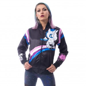 CUPCAKE CULT - I Hate You Unicorn Varisty Jacket Ladies Black *a1