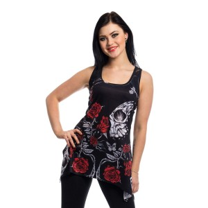 VIXXSIN - IMMORTAL LOVE LACE PANEL VEST LADIES BLACK