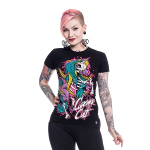 CUPCAKE CULT - Internal Unicorn T Ladies Black *NEW IN*