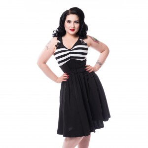 ROCKABELLA - Kia Dress Ladies Black/White *NEW IN-a*