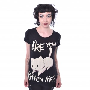 CUPCAKE CULT - Kitten Me T Ladies Black *NEW IN-a*