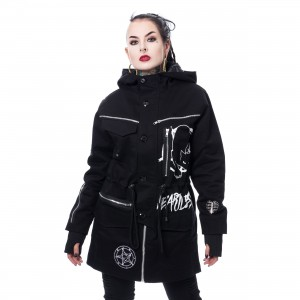 HEARTLESS - KITTY CULT PARKA LADIES BLACK |c|