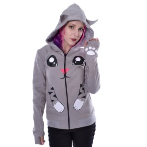 CUPCAKE CULT - Kitty Paw Hood Ladies Grey *a1