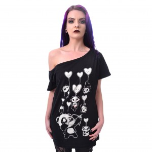 KILLER PANDA - KP SHOOTING HEARTS TOP LADIES BLACK |b|