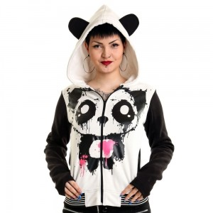 KILLER PANDA - KP MASE HOOD LADIES WHITE/BLACK