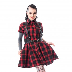 HEARTLESS - Lovisa Dress Ladies Red Check *NEW IN-a*