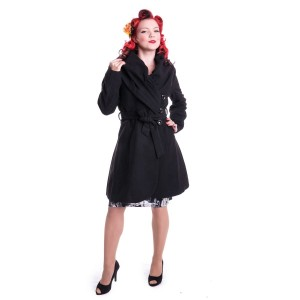 ROCKABELLA - LYNN COAT LADIES BLACK SIZE M CLEARANCE