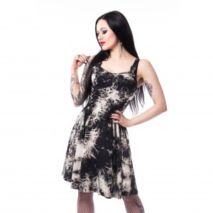 CHEMICAL BLACK - Malin Tie Dye Dress Ladies Black *NEW IN-a*