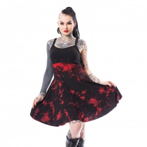 CHEMICAL BLACK - Marta Tie Dye Dress Ladies Red *NEW IN-a*