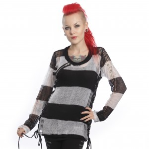 HEARTLESS - MISS KRUEGER TOP LADIES BLACK/WHITE