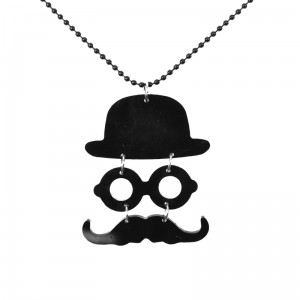 POIZEN INDUSTRIES - MOUSTACHE & HAT NECKLACE LADIES BLACK