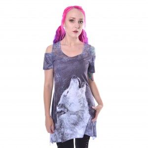 INNOCENT LIFESTYLE - NETTA LACE PANEL TOP LADIES GREY/WHITE |b|a