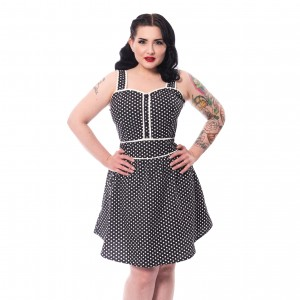 ROCKABELLA - NINA DRESS LADIES BLACK POLKA |b|a