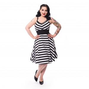 ROCKABELLA - NORTH DRESS LADIES BLACK/WHITE |b|a