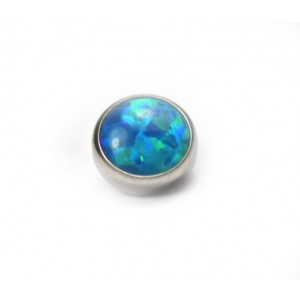 BODY JEWELLERY - Peacock Blue Cabochon Opal Flat Attachment