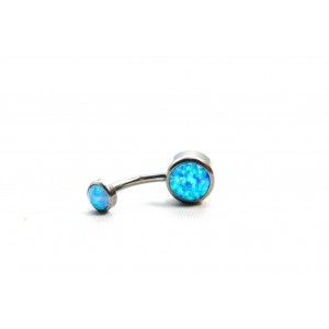 BODY JEWELLERY - Azure Cabochon Opal Navel Bar