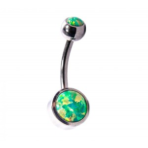 BODY JEWELLERY - Olive Green Cabochon Opal Navel Bar
