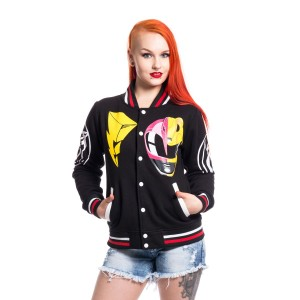 POWER RANGERS - PINK AND YELLOW RANGER VARSITY JACKET LADIES BLACK