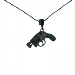 POIZEN INDUSTRIES - SKULL PISTOL P1 NECKLACE LADIES BLACK