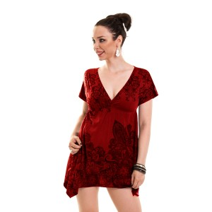 INNOCENT LIFESTYLE - SMOCK DRESS LADIES WINE RED