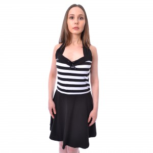 ROCKABELLA - SOUTH DRESS LADIES BLACK/WHITE |b|a