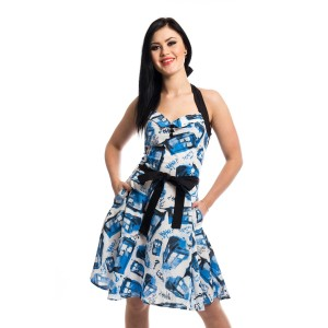 DOCTOR WHO - STREET TARDIS DRESS LADIES WHITE/BLUE