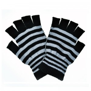POIZEN INDUSTRIES - STRIPE GLOVES LADIES BLACK/GREY