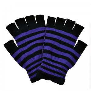 POIZEN INDUSTRIES - STRIPE GLOVES LADIES BLACK/PURPLE