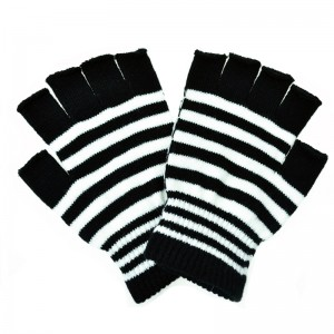 POIZEN INDUSTRIES - STRIPE GLOVES LADIES BLACK/WHITE