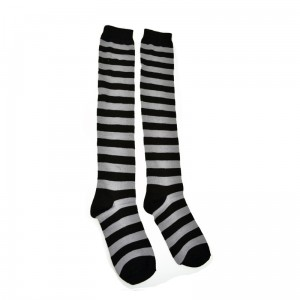 POIZEN INDUSTRIES - OK STRIPE SOCKS LADIES BLACK/GREY