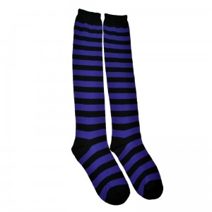 POIZEN INDUSTRIES - OK STRIPE SOCKS LADIES BLACK/PURPLE