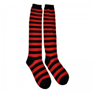 POIZEN INDUSTRIES - OK STRIPE SOCKS LADIES BLACK/RED
