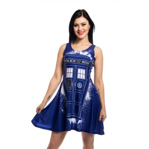 DOCTOR WHO - TARDIS GRAFFITI DRESS LADIES BLUE