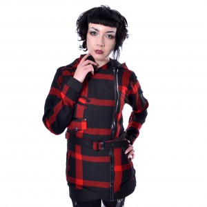 POIZEN - Tilly Jacket Ladies Black/Red Check *a1