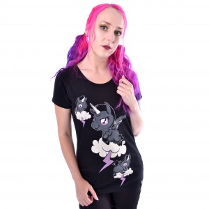 CUPCAKE CULT - Unicorn Cloud T Ladies Black *a1