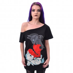 CUPCAKE CULT - UNICORN HEART FIGHT TOP LADIES BLACK