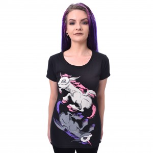 CUPCAKE CULT - UNICORN NIGHT T LADIES BLACK |b|