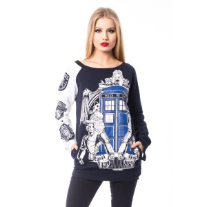 DOCTOR WHO - DOCTOR WHO VILLAIN TOP LADIES BLUE/WHITE